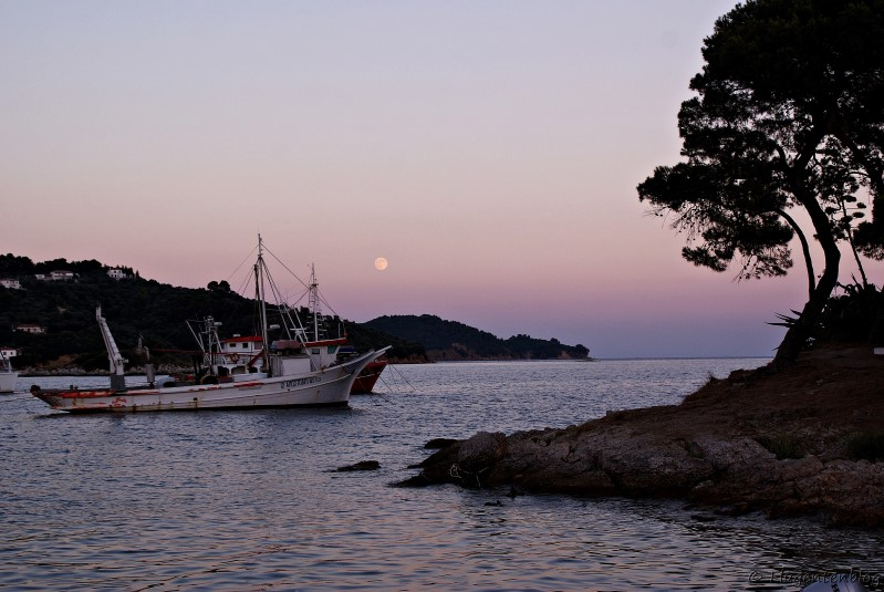 Skiathos Stadt Old port sunset