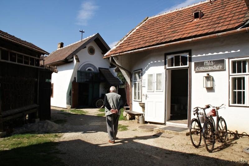 Dorfmuseum Mönchhof älterer Herr spaziert an Milchhaus und Wagnerei vorbei