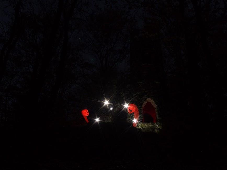 Ruine Schomburg bei Nacht mit Lightpainting Beleuchtung