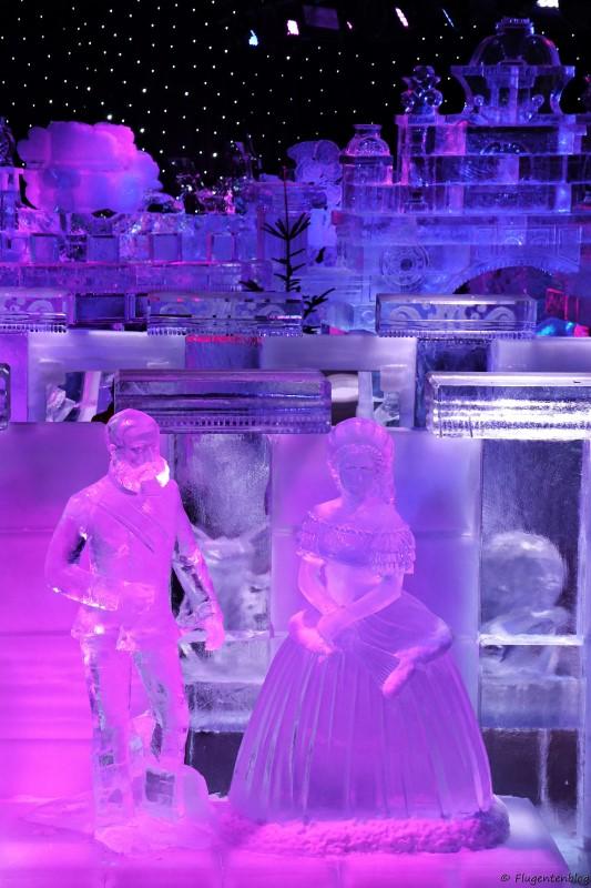 Blick auf die Ice-Magic Ausstellung von oben. Im Vordergrund Kaiser Franz und Kaiserin Sissi