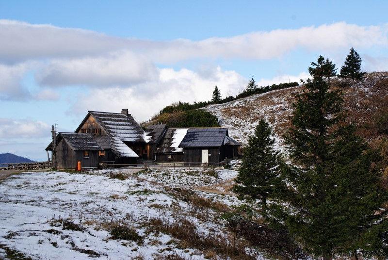 Gasthaus Zeleni rob mit Fichtenbaeumen und angeschneitem Boden