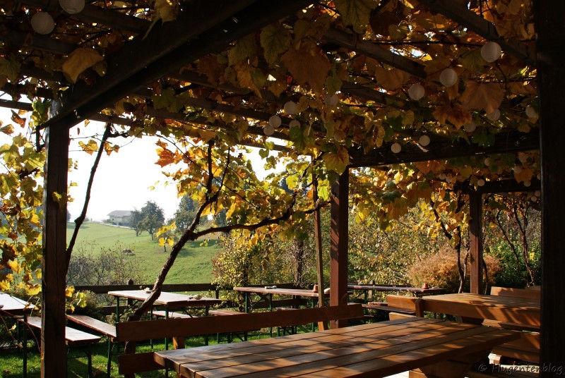 Holztische und Baenke auf der Terrasse des Pri Kovacniku